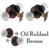 Oil Rubbed Bronze Round Art Deco Glass Door Knob Set w/Detailed Rosette