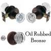 Oil Rubbed Bronze Octagonal Glass Doorknob Set w/Detailed Rosette