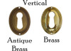 Vertical Brass or Antique Brass Keyhole Cover with Beveled Edge