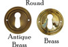 Round Brass or Antique Brass Keyhole Cover with Beveled Edge