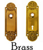 Brass Rounded Ornate Door Knob Trim Backplate