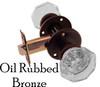 Oil Rubbed Bronze Octagonal Glass Door Knob Set w/Small Rosette