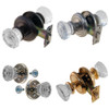 Fluted Glass Door Knob Set w/Detailed Rosettes in Brass , Nickel, Brushed Nickel or Oil Rubbed Bronze