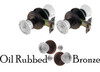 Oil Rubbed Bronze Fluted Glass Door Knob Set w/Detailed Rosettes