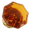 Amber Octagonal Shape Glass Knob with Brass Base