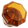 Amber Octagonal Shape Glass Knob with Nickel Base