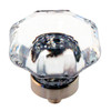 Clear Octagonal Shape Glass Knob with Nickel Base