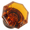 Amber Octagonal Shape Glass Knob with Oil Rubbed Bronze Base