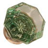 Green Octagonal Shape Glass Knob with Brushed Nickel Base