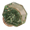 Green Octagonal Shape Glass Knob with Nickel Base
