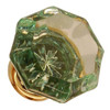 Green Octagonal Shape Glass Knob with Brass Base