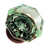 Green Octagonal Shape Glass Knob with Oil Rubbed Bronze Base