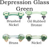 Depression Glass Green Glass Cabinet Handle, Octagon Shape