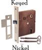 Nickel Interior Mortise Lock with Keyed Lock