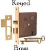 Brass Interior Mortise Lock with Keyed Lock