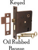 Oil Rubbed Bronze Interior Mortise Lock with Keyed Lock