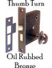 Oil Rubbed Bronze Mortise Interior Lock with Thumb Turn
