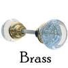 Brass Round Art Deco Glass Door Knob