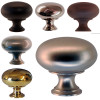 Round Furniture or Cabinet Knob in Brass, Black, Nickel, Brushed Nickel or Oil Rubbed Bronze