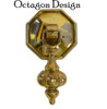 Small Brass Pendant Pull with Octagon Backplate