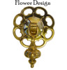 Small Brass Pendant Pull with Large Flower Backplate