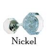 Nickel Octagonal Clear Glass Door Knob