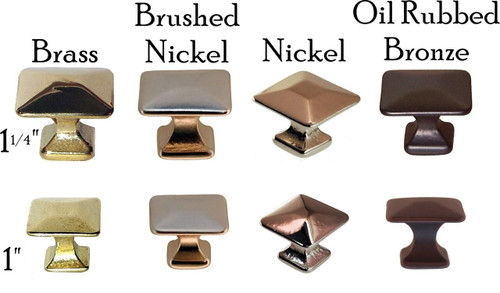Square Mission Arts & Craft Knob in Brass, Nickel, Brushed Nickel or Oil Rubbed Bronze