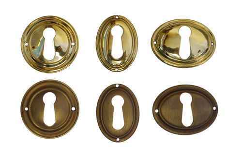 Brass or Antique Brass Keyhole Cover with Beveled Edge