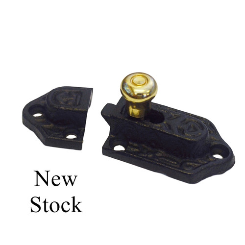 Black Cast Iron Latch, Victorian with Brass Knob