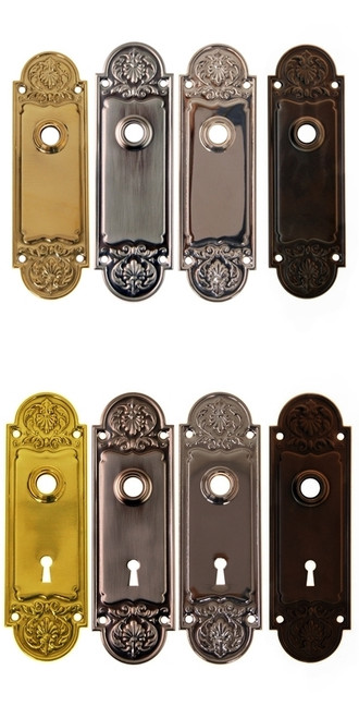 Door Knob Trim Backplate, Rounded Ornate Design in Brass, Nickel, Brushed Nickel or Oil Rubbed Bronze