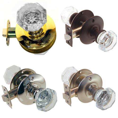 Octagonal Glass Doorknob Set w/Large Rosette