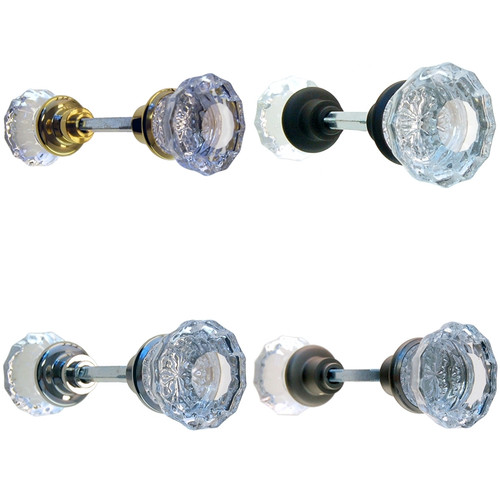 Fluted Glass Door Knob Set in Brass, Nickel, Brushed Nickel or Oil Rubbed Bronze.