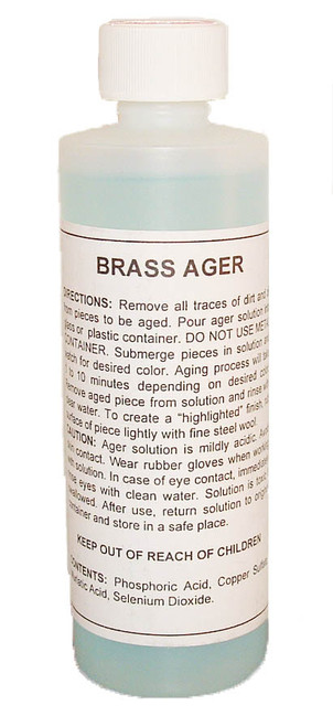 Brass Ager Solution, gives an antiqued look to new brass.