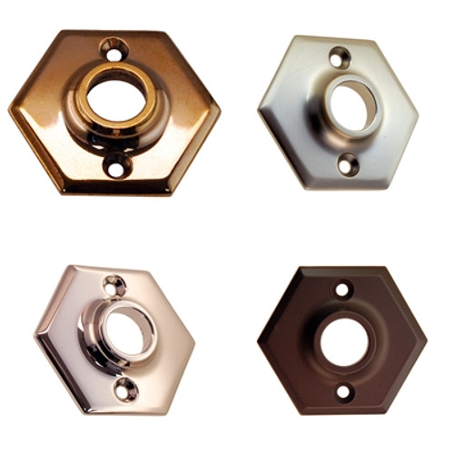 Hexagon Shaped Door Rosette in Brass, Nickel, Brushed Nickel or Oil Rubbed Bronze