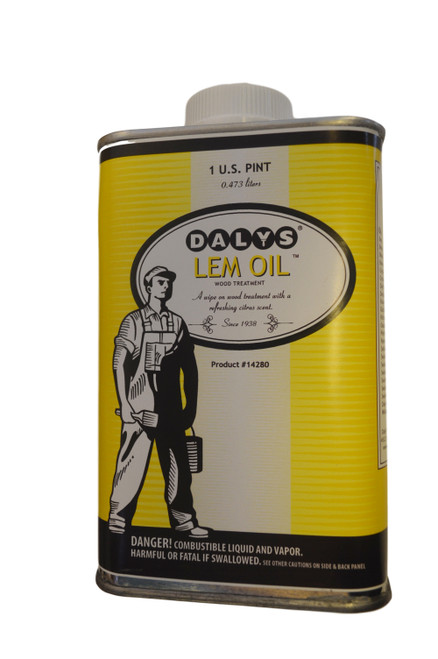 Daly's Lem-Oil. A wipe-on treatment for all wood finishes. Used to clean and maintain paneling, furniture, and cabinets. Ideal for hardwood floors, restores luster to worn areas while producing a non-slip finish. Has a refreshing citrus scent.