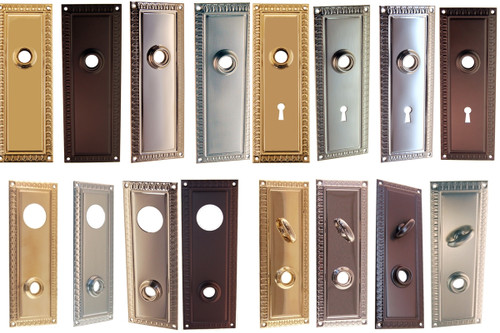 Egg & Dart Design Door Knob Trim Back Plate Brass, Nickel, Brushed Nickel or Oil Rubbed Bronze