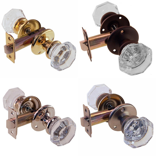 Octagonal Glass Door Knob Set w/Small Rosette in Brass, Nickel, Brushed Nickel or Oil Rubbed Bronze