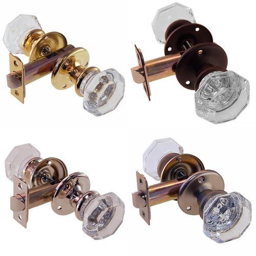 Octagonal Glass Door Knob Set w/Small Rosette in Brass, Nickel, Brushed Nickel or Oil Rubbed Bronze