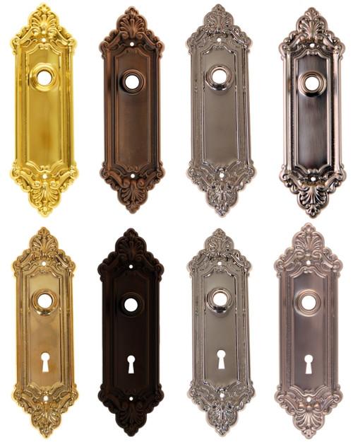 Victorian Door Trim Plate in Brass, Nickel, Brushed Nickel & Oil Rubbed Bronze