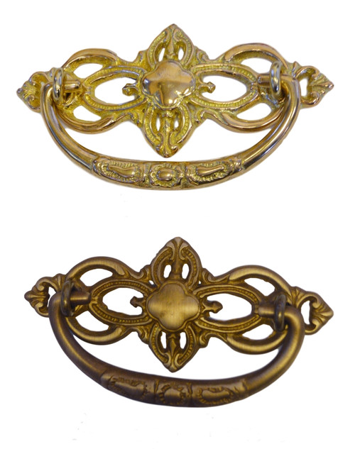 "3"" cc Victorian Style Drawer Pull  in Brass or Antique Brass"