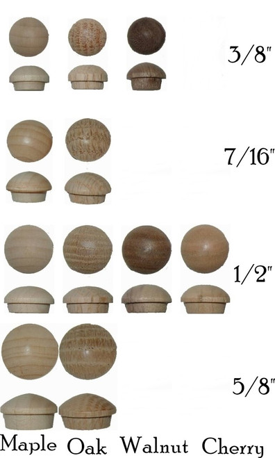 Round Head Wooden Plugs in  Walnut, Oak, Maple & Cherry