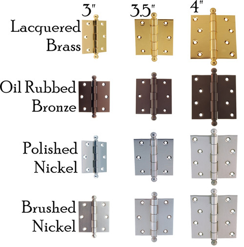 Heavy Duty Door Hinge w/Ball Tips in Brass, Nickel, Brushed Nickel & Oil Rubbed Bronze