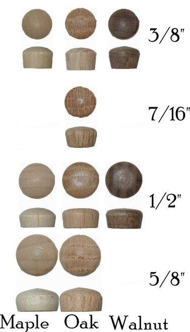 Maple, Oak or Walnut Wood Plugs with  Rounded Head