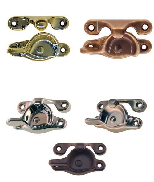 Sash lock and strike for double-hung windows in Brass. Nickel, Brushed Nickel or Oil Rubbed Bronze