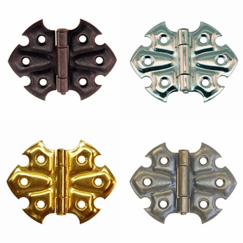 Embossed Hinge in Brass, Nickel, Brushed Nickel or Oil Rubbed Bronze