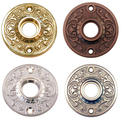 Ornate Door Knob Rosette in Brass, Nickel, Brushed Nickel or Oil Rubbed Bronze