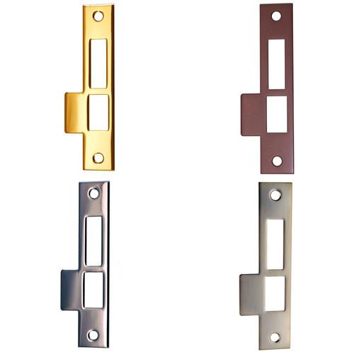 Exterior Door Strike Plate in Brass, Nickel, Brushed Nickel or Oil Rubbed Bronze
