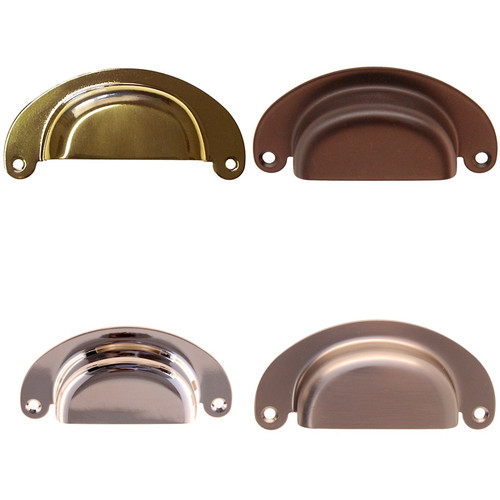 Heavy Gauge Bin Pull in Brass, Nickel, Brushed Nickel or Oil Rubbed Bronze.