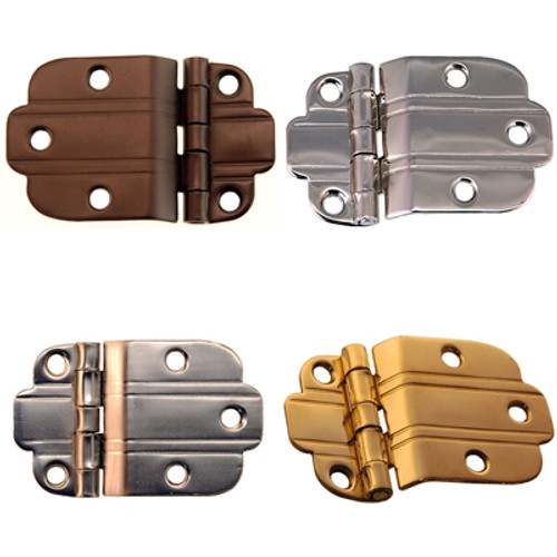 Art Deco Offset Hinge in Brass, Nickel, Brushed Nickel or Oil Rubbed Bronze.