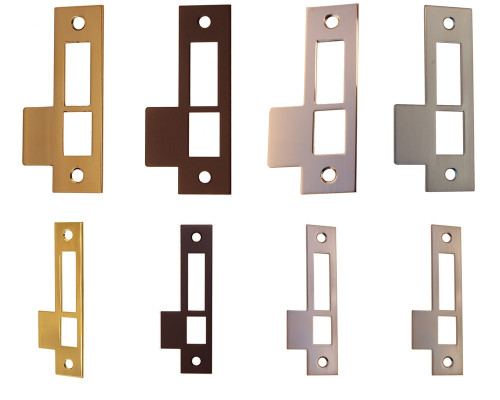 Door Strike Plate in Brass, Nickel, Brushed Nickel & Oil Rubbed Bronze